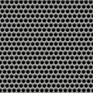 Glossy chrome grid with disc-shaped holes isolated on black - seamless texture perfect for 3D modeling and rendering