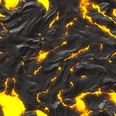 Cooling lava bed with fiery burning patches - seamless texture perfect for 3D modeling and rendering