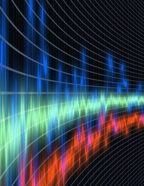 Beautiful and colorful sound wave oscilloscope or equalizer perspective view - perfect for music, technology, science or medical themes