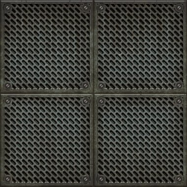Rugged old anti-slip metal grid-tile floor texture with scratches and rust marks - perfect for 3D modeling and rendering