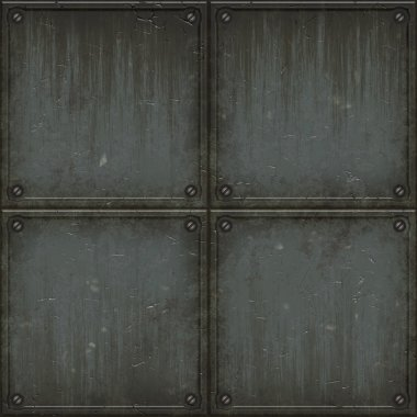 Old grungy brushed steel wall tiles with bolts background seamless texture ideal for 3D modeling and rendering