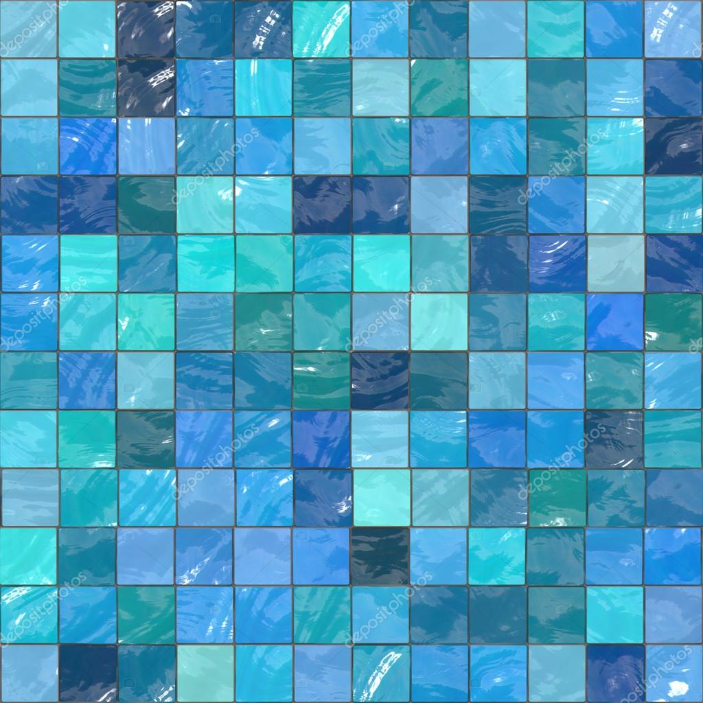 Blue ceramic tile mosaic (typical in swimming pools) - seamless ...