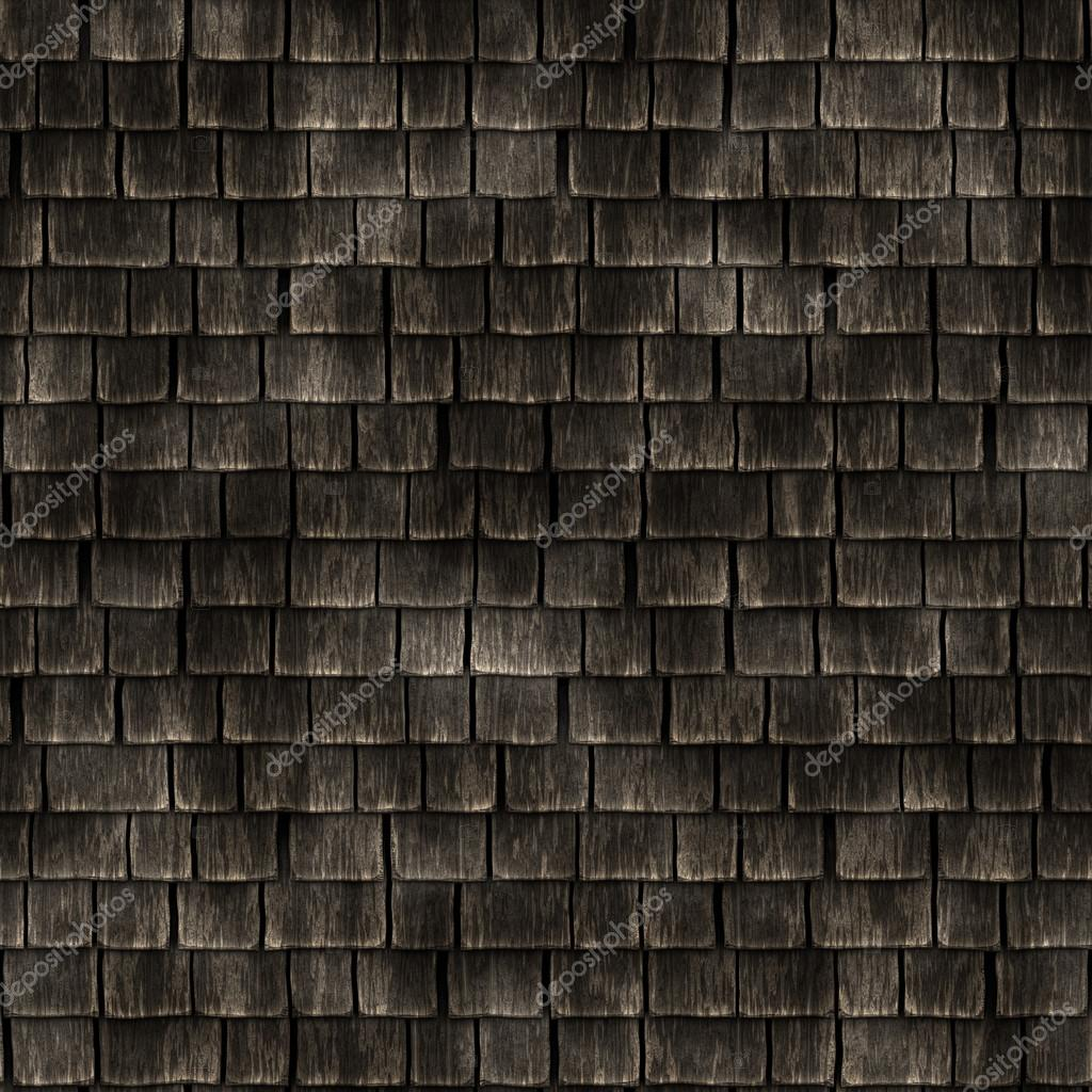 Roof section with aging wooden shingles seamless texture for 3d roof wallpaper