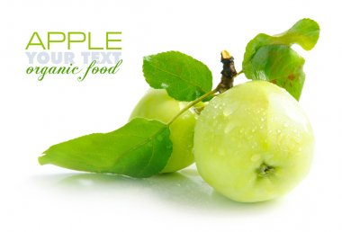 Fresh green apples are on a white background