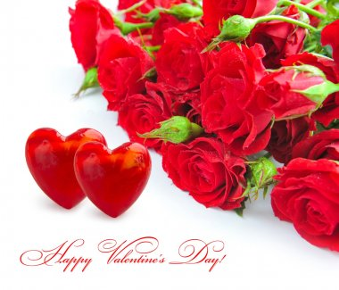 Two hearts with red roses on a white background