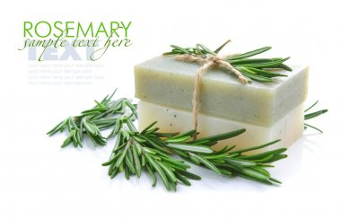 Rosemary Handmade Soap with the branches of rosemary on a white