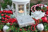 Vánoční složení s stříbrné dárkové a Lucerna