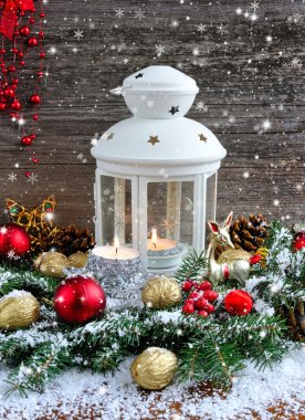 Christmas composition with lantern