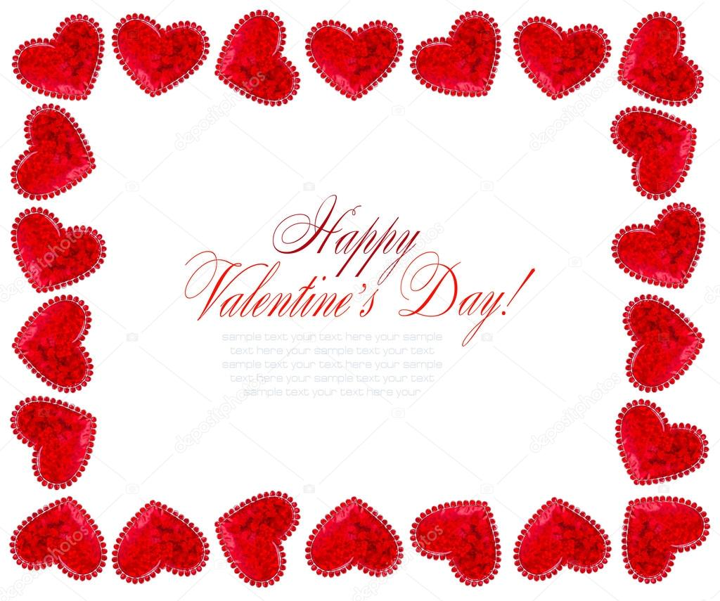 Red Hearts On White Background For Valentines Day Valentines Card