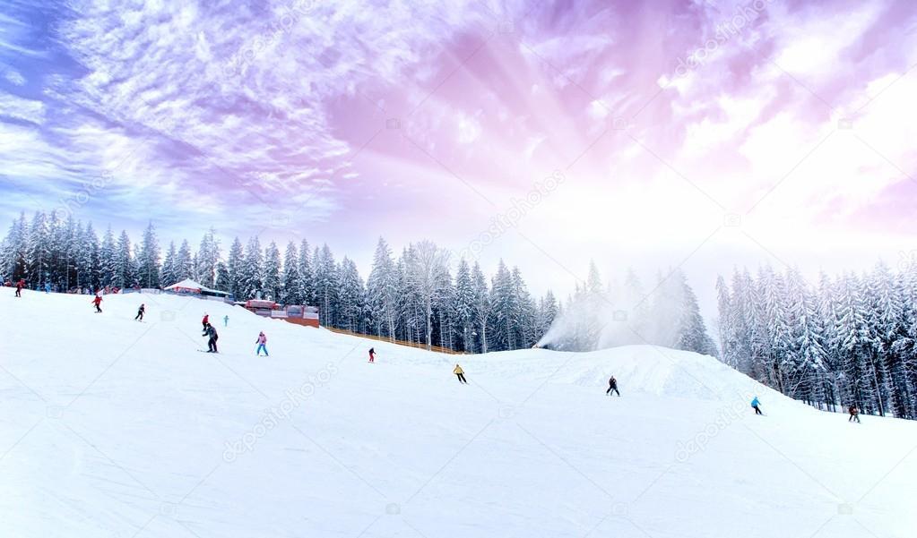 Winter scenic of skiing