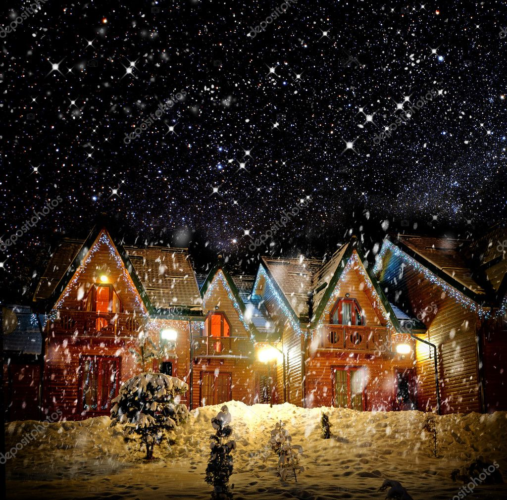 House With Christmas Lights.Decorated House With Christmas Lights Stock Photo