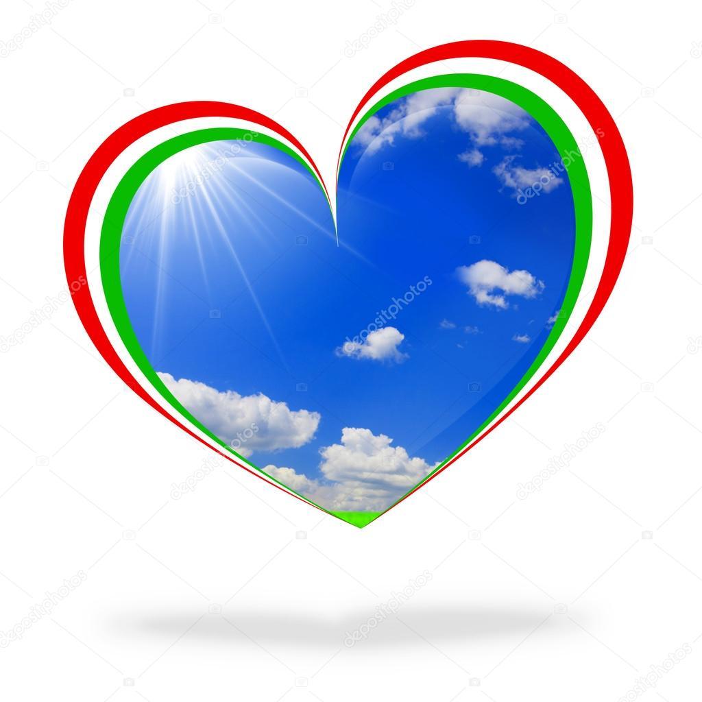 Italy flag heart