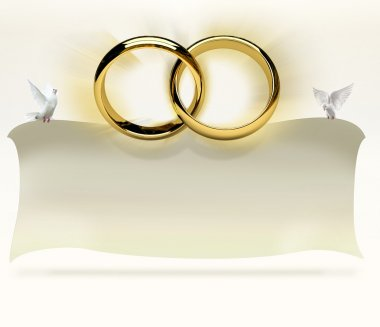 Wedding rings with invitation card carried by doves
