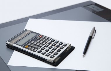 Office tools - graphics tablet, pen, calculator