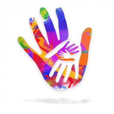 Hands in art - logo stock vector