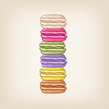 Background with a pile of macaroons