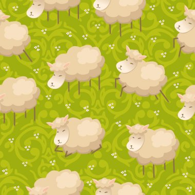 Pattern with lambs