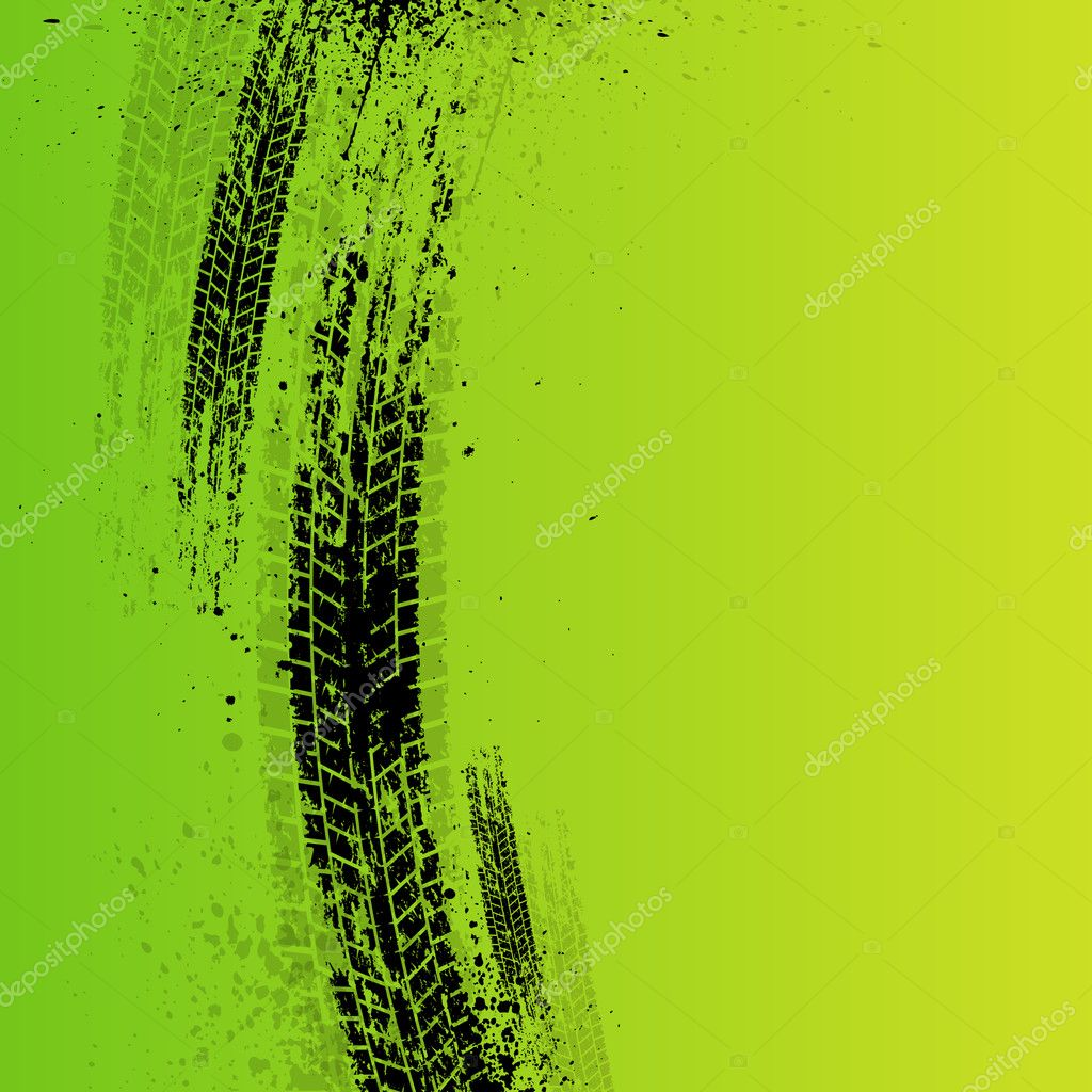 tire tracks background green stock vector longquattro 36430927. Black Bedroom Furniture Sets. Home Design Ideas