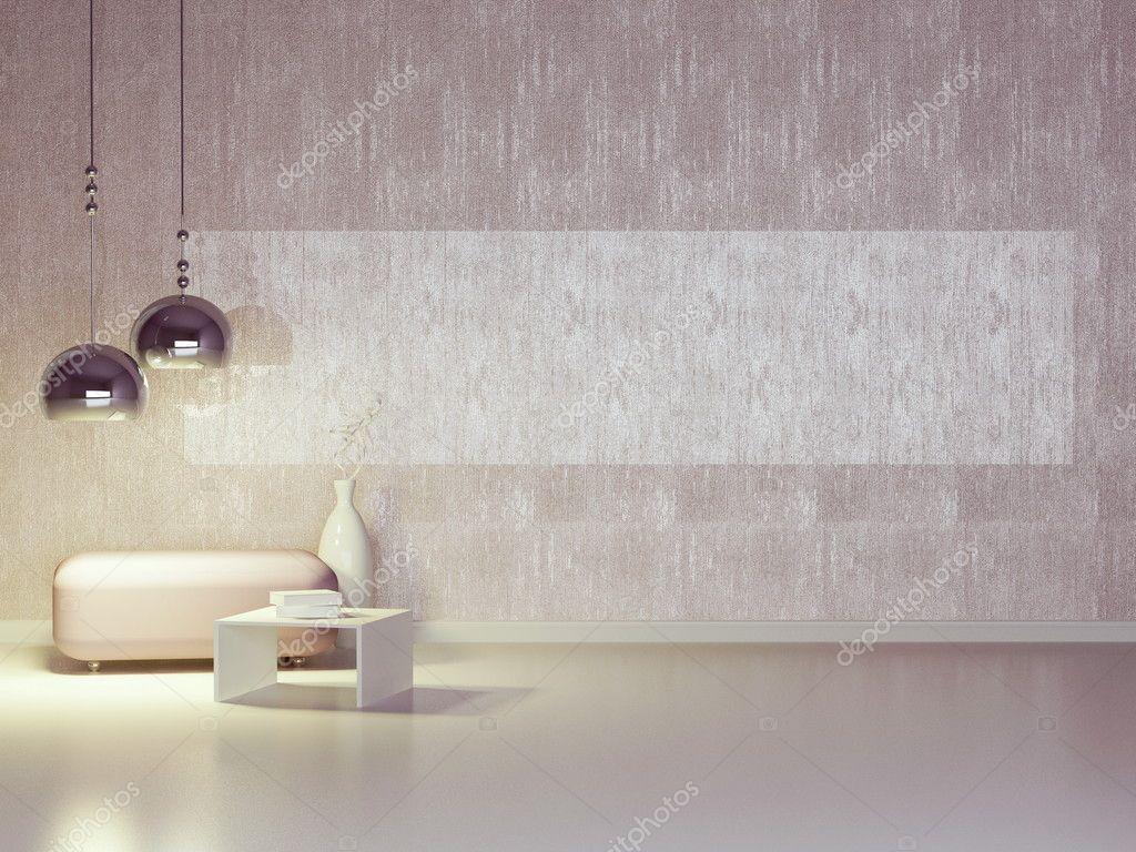 Interior design of modern violet lounge. Contemporary furniture indoor. stock vector
