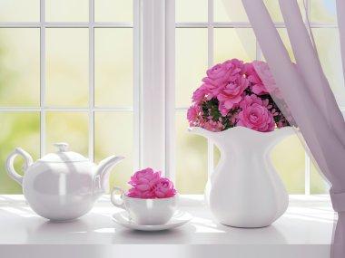 White service on a windowsill.