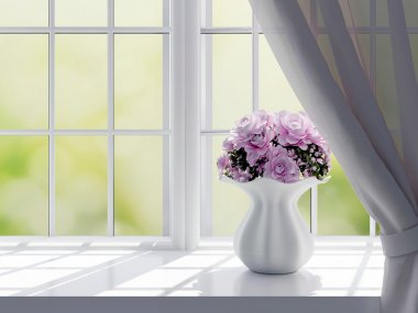 Bouquet of pink flowers (roses) on a windowsill. stock vector