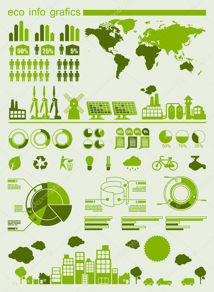 Green ecology info graphics