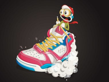 Shoe vector background with funny character