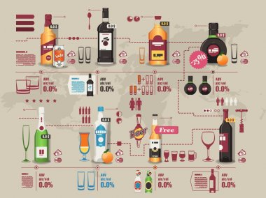 Drinks info graphic,vector background