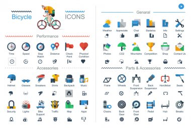 Flat style bicycle icons,