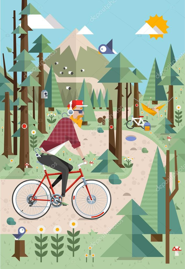 Hipster in the nature, vector background