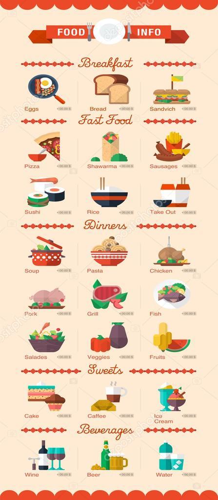 Фотообои Красочные еда и напитки иконки, векторные меню