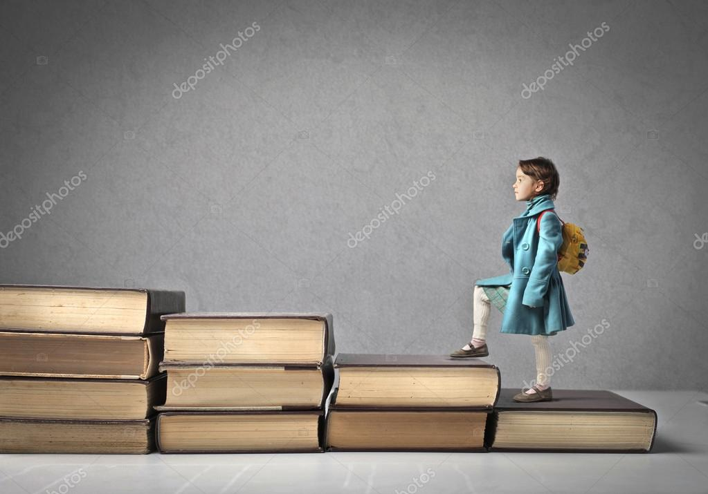 Baby Climbing a Ladder of Books