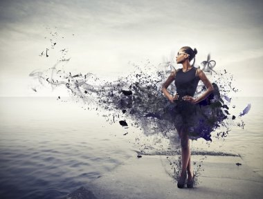 Black girl, on a pier, wearing a black dress that becomes paint stock vector