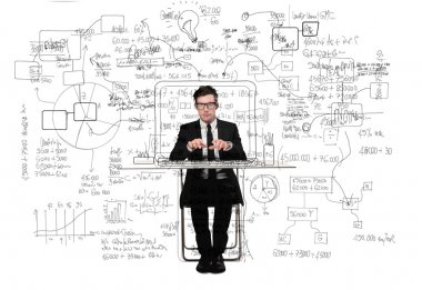 Young businessman working at his desk stock vector