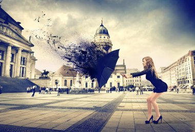 woman and an umbrella