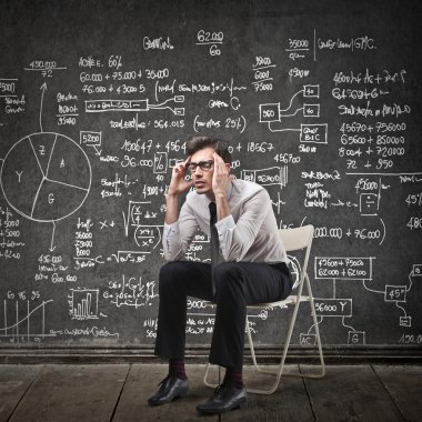 Drawn board behind a man thinking stock vector