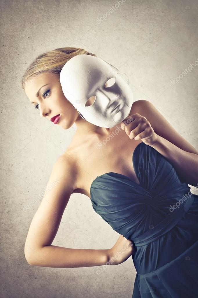 Beautiful woman with a mask