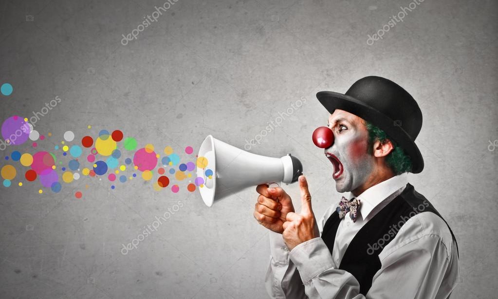 Clown shouting colors