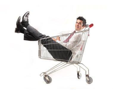Businessman into a cart