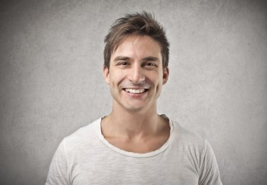 Man smiling happily