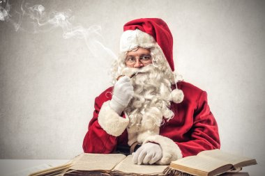 Santa klaus thinking hard