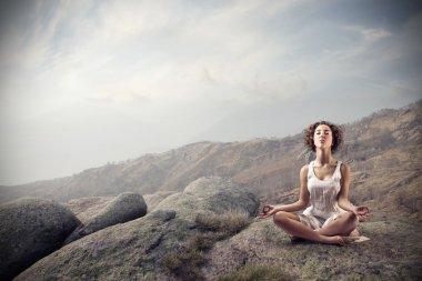 Woman meditating on a rock stock vector