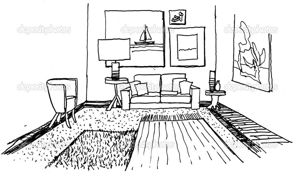 Getekende kamer stockfoto olly18 40632541 - Trap meubilair kind ...