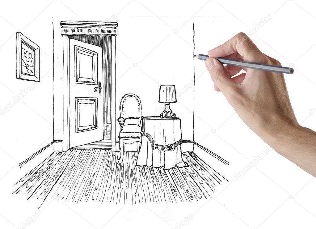 Una stanza di disegno a mano foto stock olly18 40637887 for Disegnare una stanza in 3d