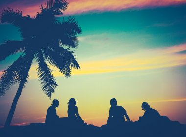 Retro Sunset Hawaii Friends