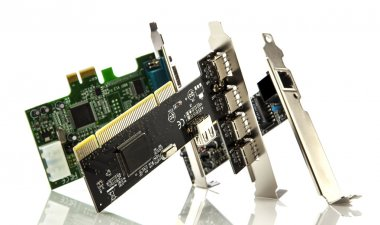 Assorted pci cards on white background