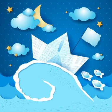 Vector illustration with paper boat on the storm, eps10. clip art vector