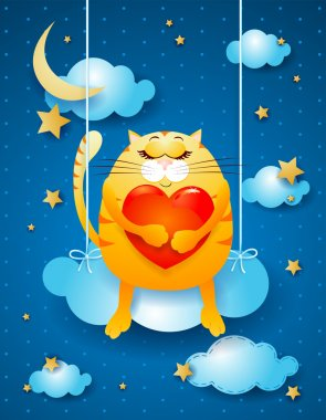 Sweet kitten over the cloud, fantasy illustration. Vector clip art vector