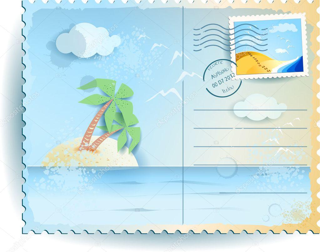 Tropical sea, vintage postcard. Vector background