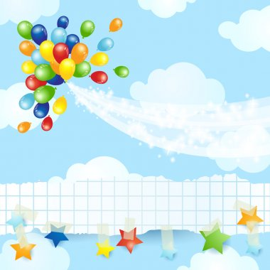 Balloons background with banner